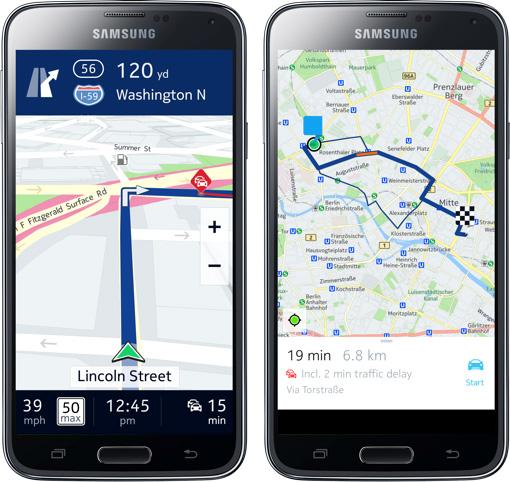 Nokia Here Mapas llegarán al Galaxy S5 de Samsung