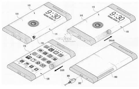 Samsung patente pantalla flexible de tres lados