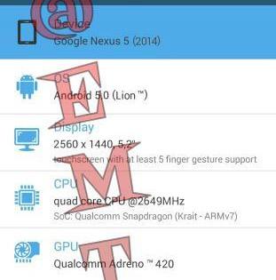 Nexus 5 2014 con Android 5.0 Lion