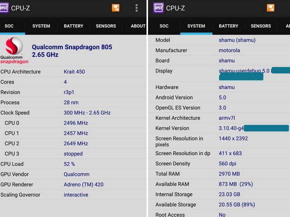 Especificaciones filtradas Nexus 6