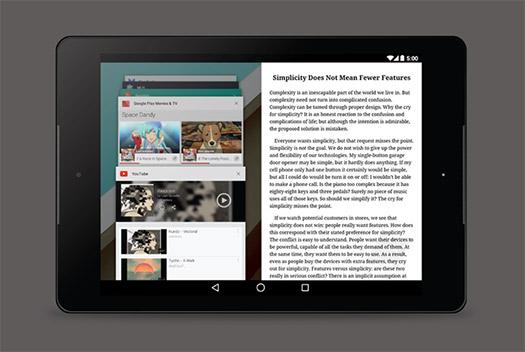 Tableta Android con multiventana multiwindow