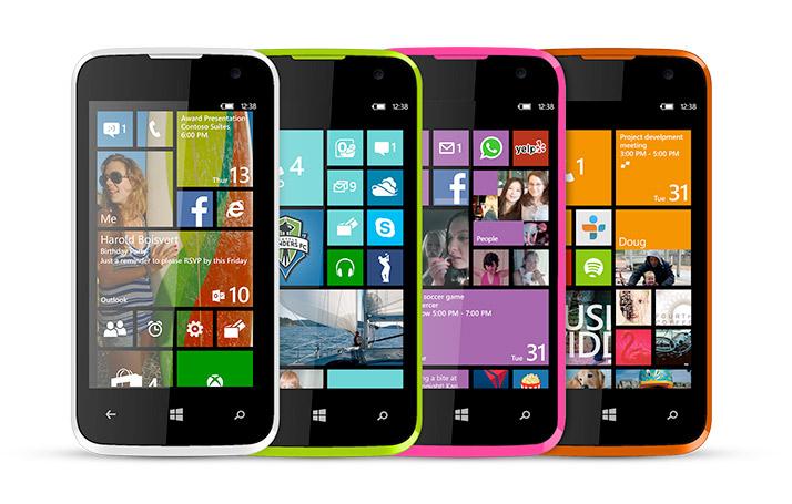 Blu Win JR con Windows Phone 8.1 en México colores parte frontal