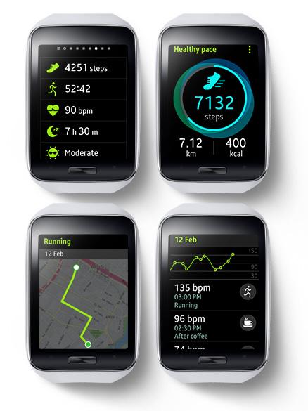 Samsung Gear S color blanco apps de salud y ejercicio