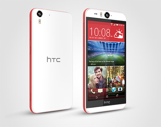 HTC Desire Eye color blanco y rojo frente y posterior 2