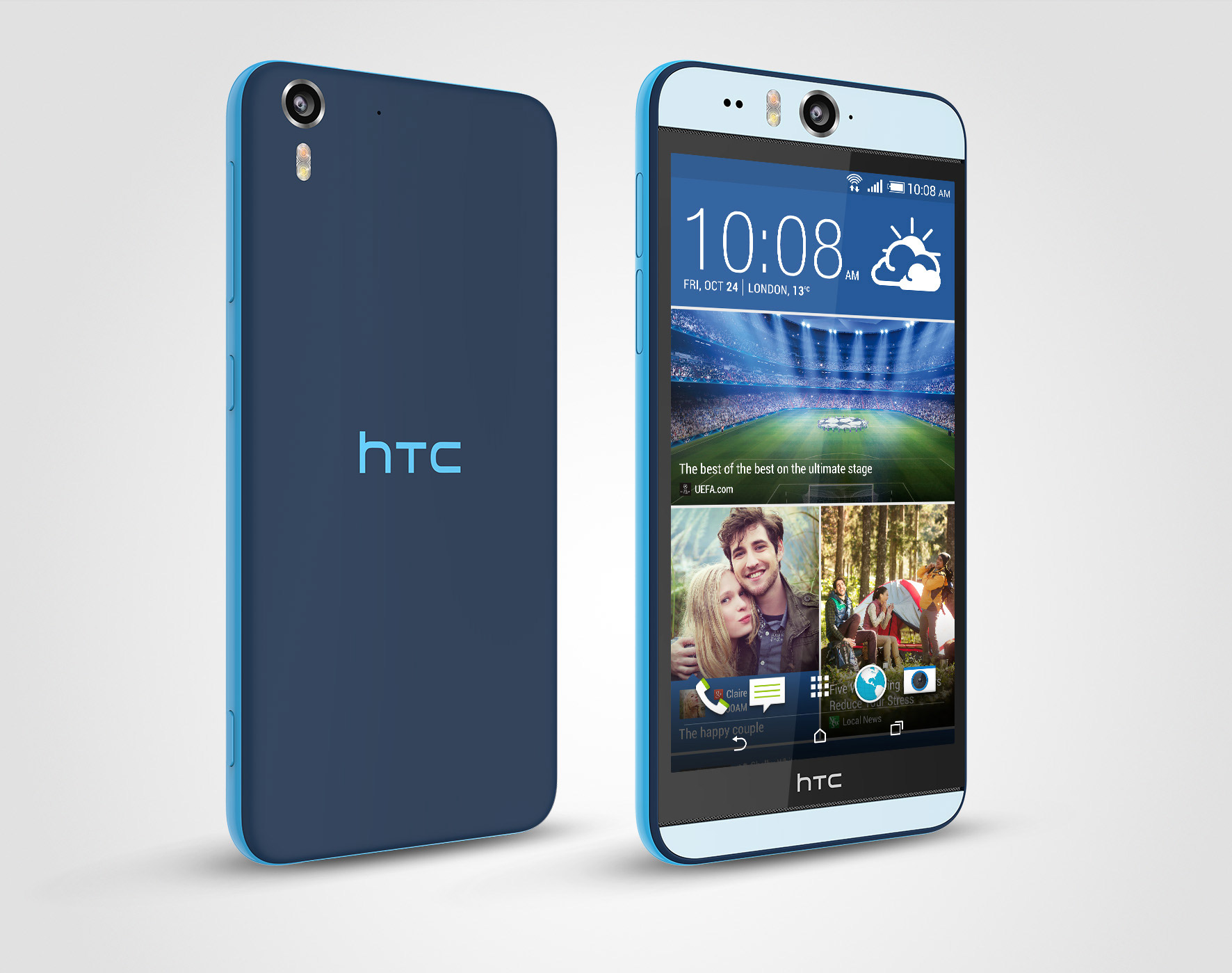 HTC Desire Eye color azul de lado 2
