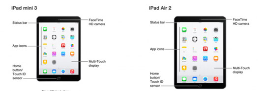 Apple iPad Air 2 y iPad Mini 3 en manual partes
