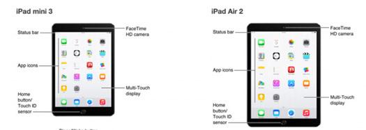 Apple iPad Air 2 y iPad Mini 3 en manual partes