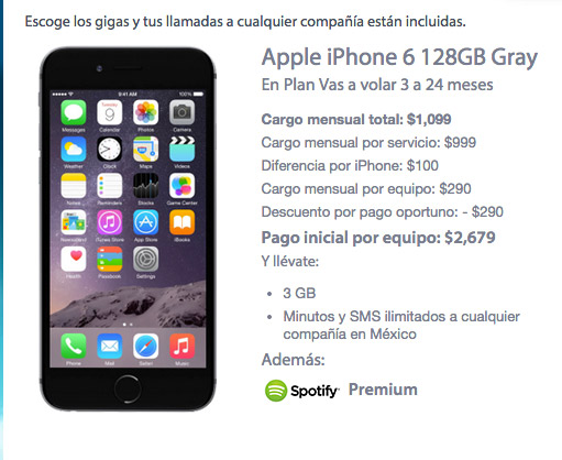 iPhone 6 128 GB con Movistar precio en plan de renta