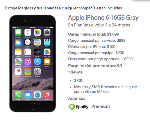 iPhone 6 16 GB con Movistar precio en plan de renta