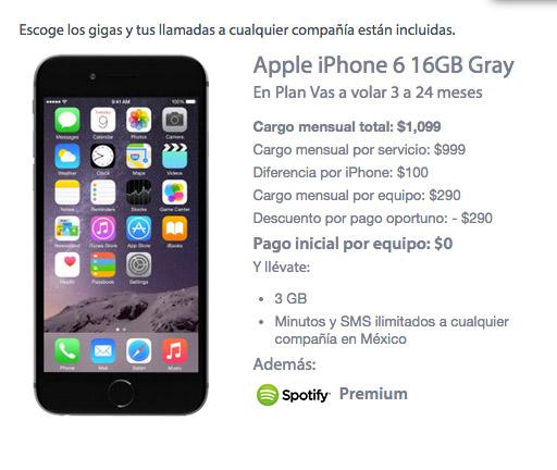 iPhone 6 16 GB con Movistar precio en plan de renta