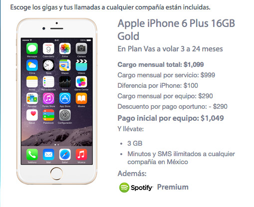 iPhone 6  Plus 16 GB con Movistar precio en plan de renta