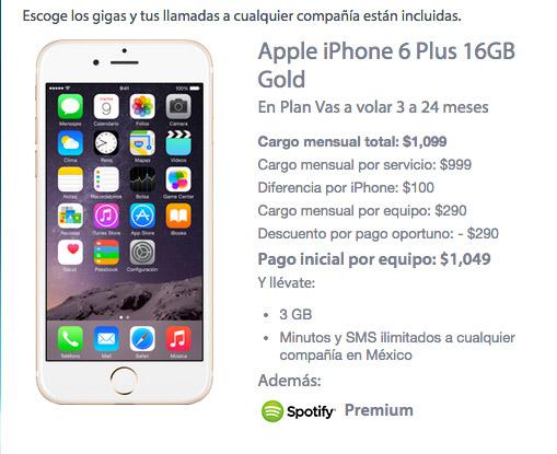 iPhone 6  Plus 16 GB con Movistar precio en plan de renta