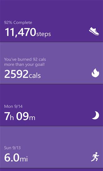 Microsoft Health app Steps