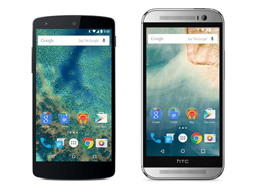 Nexus 5 y HTC One M8 con Android 5.0 Lollipop