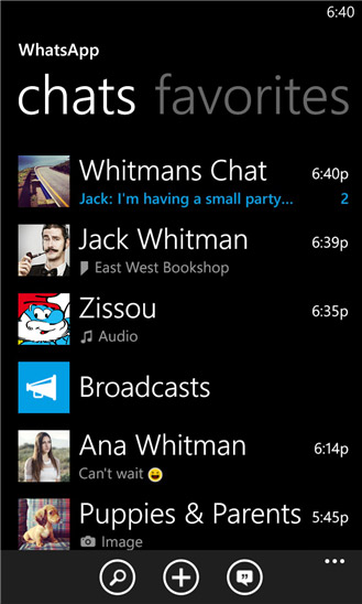WhatsApp para Windows Phone pantalla contactos