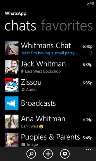 WhatsApp para Windows Phone pantalla contactos