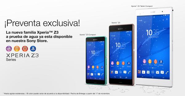 Sony Xperia Z3, Z3 Compact y Z3 Tablet Compact venta en México desbloqueados