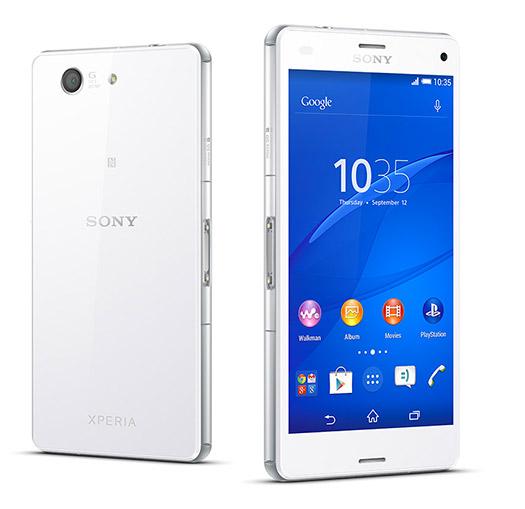 Sony Xperia Z3 compact color blanco pantalla y cámara trasera