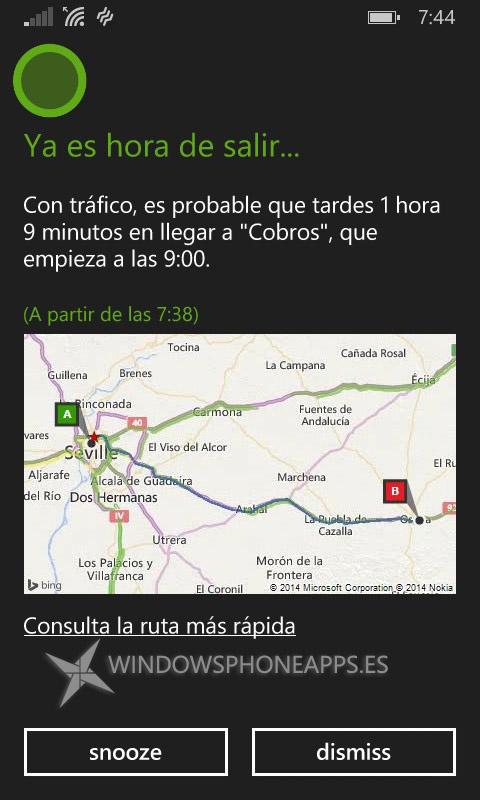 Cortana en español recordatorio