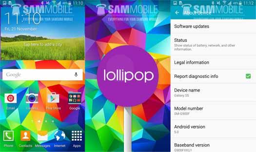 Pantallas de Galaxy S5 con Android 5.0 Lollipop