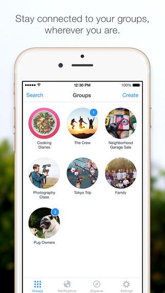 Facebook Groups en iPhone  todos los grupos