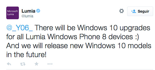 Microsoft tuit que todos los Lumia con Windows Phone 8 obtendrán Windows 10
