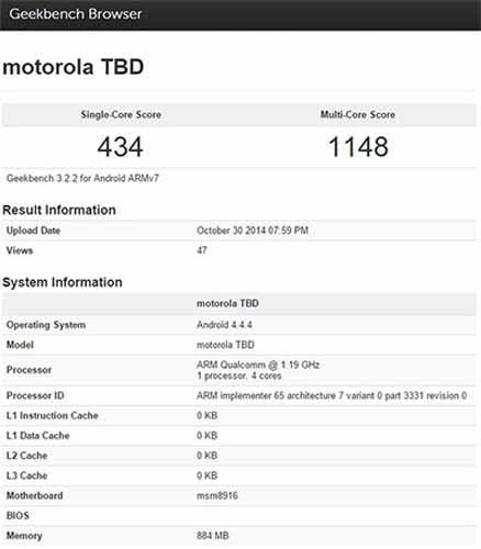 Especificaciones Moto E 2014
