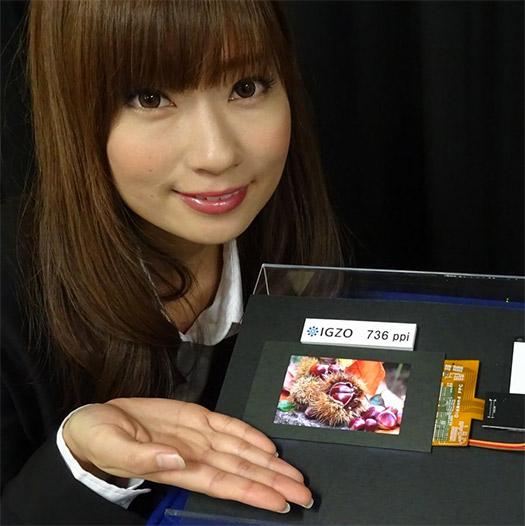 Sharp IGZO LCD con alta densidad mostrada por modelo japonesa
