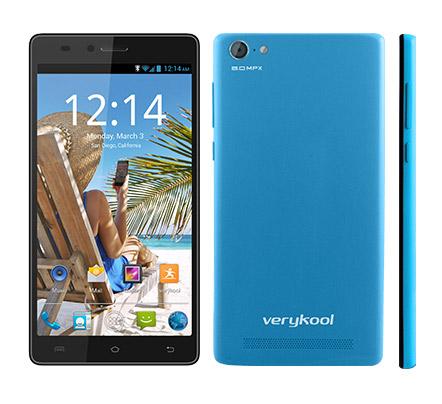 Verykool S5510 Juno un phablet Android KitKat  en México color azul frente posterior y espesor