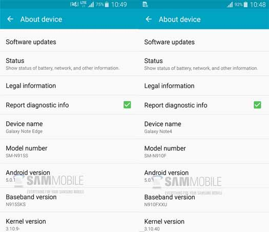 Galxy Note 4 y Edge con Android 5.0.1