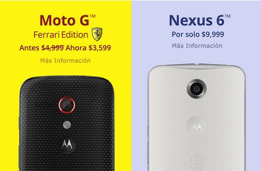 Motorola oferta navideña 2014 en México; Moto G Ferrari y Nexus 6