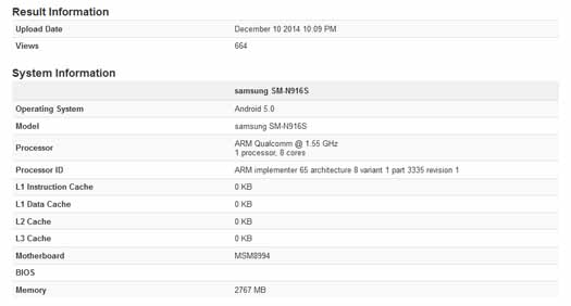 Especificaciones Galaxy Note 4 Snapdragon 810
