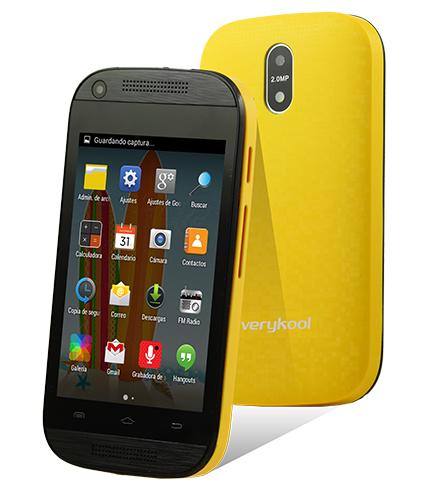 Verykool S3501 LYNX color amarillo posterior y pantalla