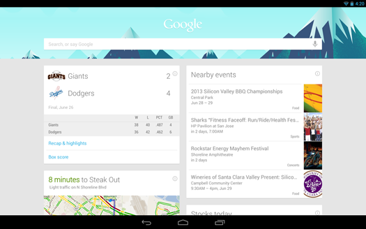 Google 4.1 tarjetas now