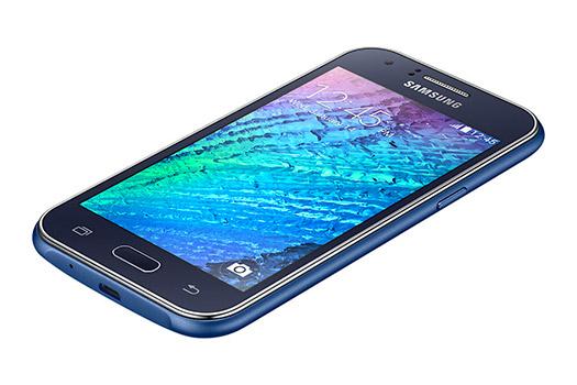 Samsung Galaxy J1 en color Azul pantalla de lado