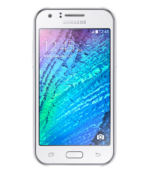 Samsung Galaxy J1 en color blanco frente