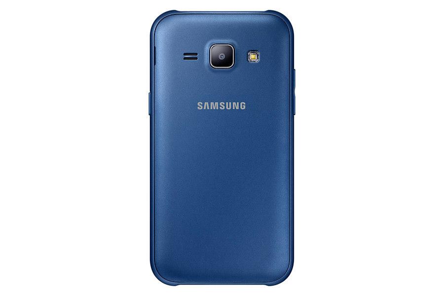 Samsung Galaxy J1 en color azul posterior cámara de 5 MP