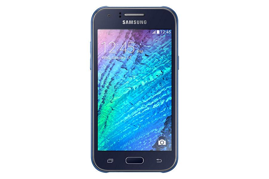 Samsung Galaxy J1 en color azul frente pantalla