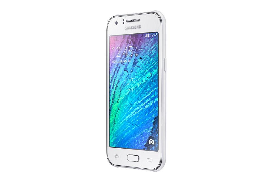 Samsung Galaxy J1 en color blanco de perfil izquierdo