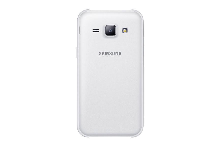 Samsung Galaxy J1 en color blanco posterior cámara de 5 MP