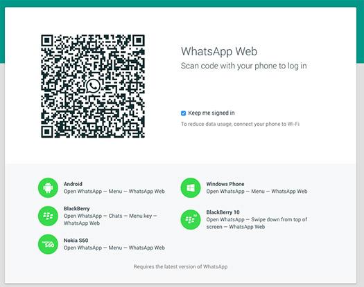 WhatsApp Web pantalla para vincular código QR