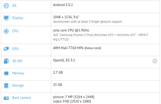 Galaxy Tab S2 GFXbench
