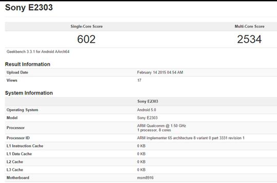 Sony E2303 GFXBench