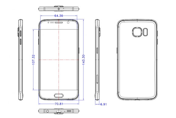 Esquema del Galaxy S6 de Samsung con medidas