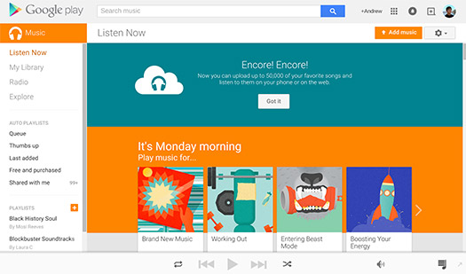 Google Play Music 50,000 canciones