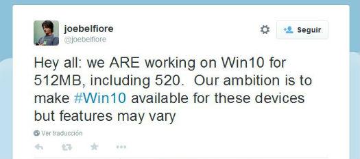 Twitte Windows 10 para equipos con 512 MB