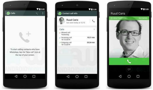 Whatsapp VolP menus