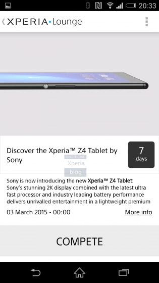 Sony Xperia Z4 Tablet en App Lounge