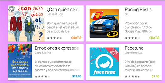 Google Play 3er Aniversario ofertas