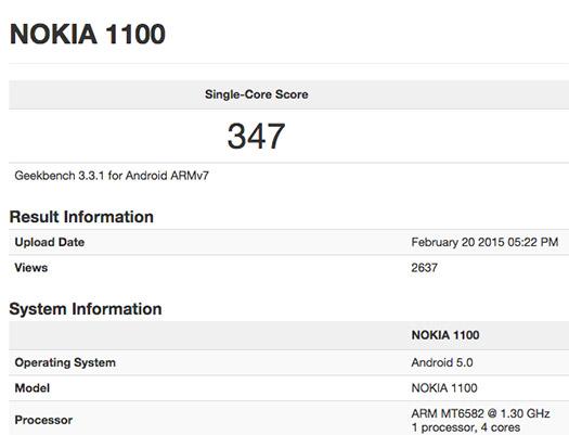 Nokia 1100 con Android Lollipop